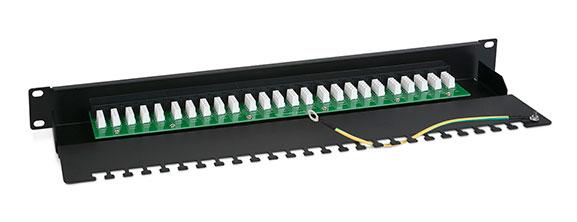 Патч-панель (1U), 50 портов RJ-45, Krone IDC.<br />Вид сзади.