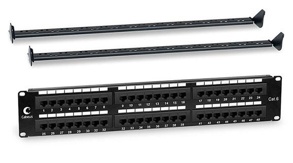Патч-панель 19 (2U), 48 портов RJ-45, категория 6, Dual IDC, с задним кабельным организатором.<br />Вид спереди.
