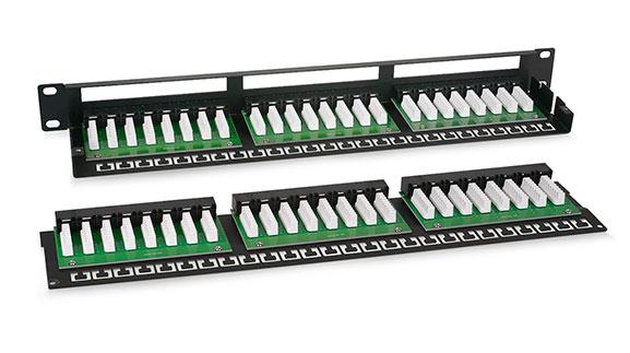 Патч-панель 19 (1U), 48 портов RJ-45, категория 5е, Krone IDC.<br />Вид сзади.