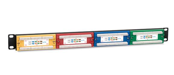 Патч-панель 19 (1U), 24 портов RJ-45, категория 5e, Dual IDC, цветная панель, угол портов 45 градусов.<br />Вид сзади.