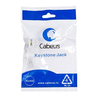 Cabeus KJ-RJ12-90 Degree Вставка Keystone Jack, RJ-12(6P6C).