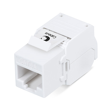 Cabeus KJ-RJ45-Cat.6A-180-Toolless Вставка Keystone Jack RJ-45(8P8C), 180 градусов, категория 6A, без инструмента Toolless, белая