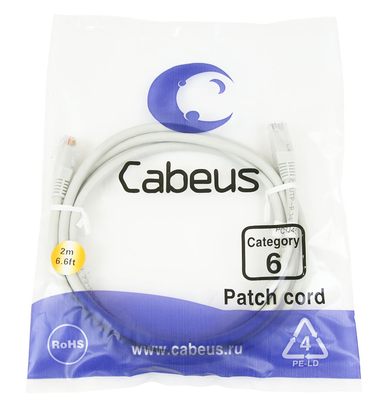 Нажмите на фото для увеличения. Cabeus PC-UTP-RJ45-Cat.6-2m Патч-корд UTP,