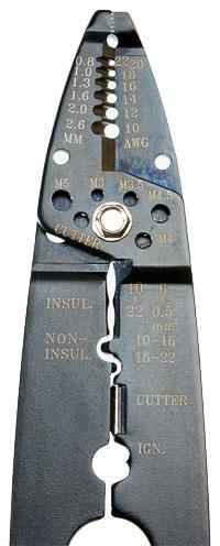 Многофункциональный инструмент для зачистки и обрезки кабелей d = 0,5 - 6 мм.