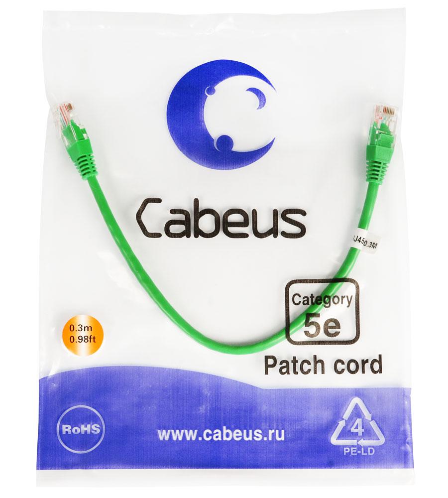 Cabeus PC-UTP-RJ45-Cat.5e-0.3m-GN Патч-корд UTP, категория 5e, 0.3 м,