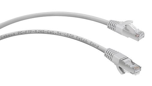 Патч-корд Cabeus FTP, категория 5e, LSZH, экранированный, серый.