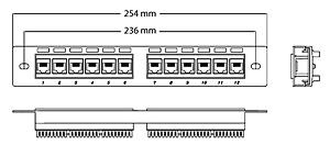 Чертеж патч-панели Cabeus 10 дюймов